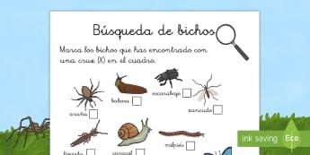 Lista de comprobación: La búsqueda de los bichos - libélula, abeja, caracol, hormiga, típula, escarabajo, mariposa, oruga, gusano, mariquita, cochini