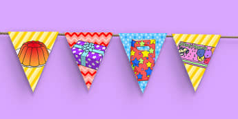 3rd Birthday Party Picture Bunting - 3rd birthday party, 3rd birthday, birthday party, picture bunting