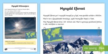 Ffeil Ffeithiau Mynyddoedd y Byd - Mynydd, mountain, Kilimanjaro, Everest, Eferest, K