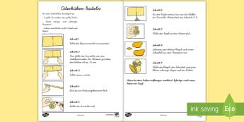 Osterküken Anleitung für Lehrkräfte - Frühling, Ostern, Küken, Basteln, Osterstrauß, easter, spring, arts and crafts, chick,German