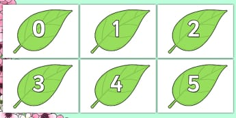 Numbers 0 to 100 on Spring Leaves - numbers, 0-100, spring, leaf