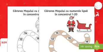 Cărarea Moșului cu numerele lipsă în concentrul 0 - 20 - Fișă de lucru - Craciun, mos craciun, 0-20, numeratie, numerație, română, numere, matematică, fișe, fise, Roman