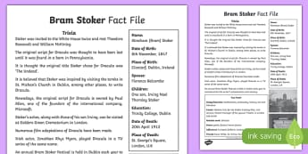 Bram Stoker 5th and 6th Class Fact File-Irish
