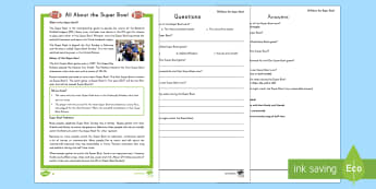 All About the Super Bowl Differentiated Reading Comprehension Activity - Super Bowl 2017, baseball.