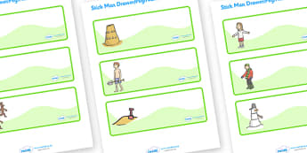 Editable Drawer-Peg-Name Labels to Support Teaching on Stick Man - Stick Man, Julia  Donaldson, resources, family tree, Stick Lady Love, Christmas, Father Christmas, story, story book, story book resources, story sequencing, story resources, Editable