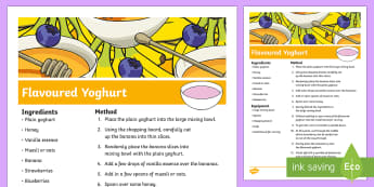 How To Make Flavoured Yoghurt Procedure Writing Sample - Literacy, Australian curriculum, writing, text types, types of text, writing sample, procedure, How
