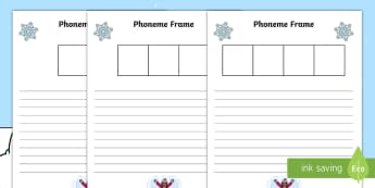 Winter Themed Phoneme Frame Activity Sheets - winter, phoneme frame, activity sheet, activity, sheet, sheets, phoneme, frame