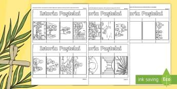 Istoria Paștelui - Cărticică animată - povestea pastelui, paștele, română , repovestire text, comunicare, religie, coloreaza, pagini de