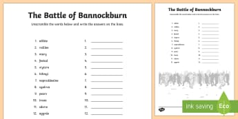 Battle of Bannockburn Word Unscramble - Vocabulary, keywords, literacy, English, anagram, King Edward II, Robert the Bruce, Scots, 1314, war