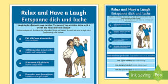Mindful Me: Relax and Have a Laugh Activity - English/German - Mindfulness, relax, relaxtion techniques, coping techniques, coping strategies, stress management, E