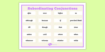 Subordinating Conjunctions Word Mat - subordinating, Connectives