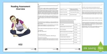 Reading Assessment Overview KS2 - reading assessment, reading, assessment, overview
