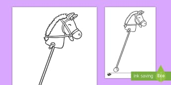 Hobby Horse Colouring Page - toys, victorian, traditional , giddy up, ride on,