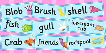 Word Cards to Support Teaching on Sharing a Shell - visual aid, writing aid, keywords