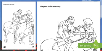 Simpson and His Donkey Colouring Page - New Zealand, Anzac Day, 25 April, ANZAC, Poppies, World War 1, World War 2, Gallipoli, colouring, Si