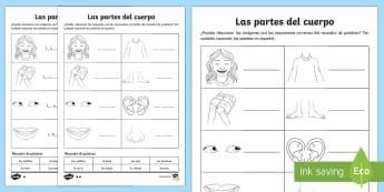 Las partes del cuerpo My Body Parts Activity Sheet Spanish - spanish, my body, body parts, activity, worksheet