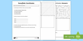 UKS2 Snowflake Coordinates Maths Differentiated Activity Sheets - Snowflakes, winter, coordinates, UKS2, Year 5, Y5, Year 6, Y6, first quadrant, four quadrants, symme
