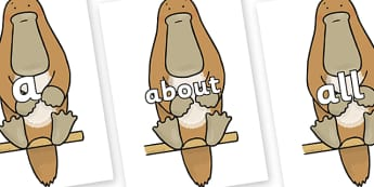 100 High Frequency Words on Platypus to Support Teaching on The Great Pet Sale - High frequency words, hfw, DfES Letters and Sounds, Letters and Sounds, display words