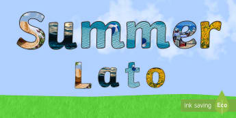 Summer Photo Display Lettering English/Polish - seasons, months, June, July, sunflower, hat, beach, holiday,translation