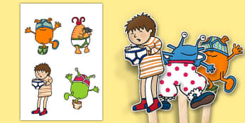 Stick Puppets to Support Teaching on Aliens Love Underpants - aliens, woolly, long johns, space ship, underpants, Claire Freedman, stick puppets, puppets, story book, book, book resources, story, bloomers, knickers, frilly, earth, radar, red, washing