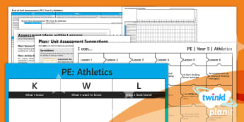 PlanIt - Year 5 PE - PlanIt Y5 Athletics Unit Assessment Pack - PE PlanIt Y5 Athletics, athletics, sport, sprinting, throwing, long distance running, summer sport,