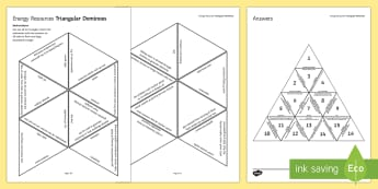 Energy Resources Tarsia Triangular Dominoes - Tarsia, gcse, physics, energy, resources, resource, nuclear, renewable, non-renewable, environment,