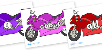 100 High Frequency Words on Motorbikes - High frequency words, hfw, DfES Letters and Sounds, Letters and Sounds, display words