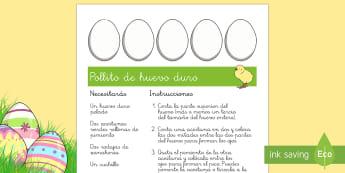 Receta: Pollito de huevo duro Receta - Semana Santa, Pascua, Holy Week, Easter,Spanish,  Pollito de huevo duro
