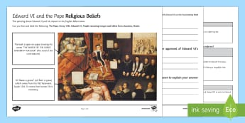 Religious Beliefs (Edward VI and the Pope) Activity Sheet - English Reformation, Edward VI, Pope, Henry VIII, bibles, religious images
