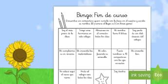 Ficha de actividad: Bingo - Fin de curso - bingo, fin de curso, vacaciones, verano, compañeros, amigos, juego, Spanish