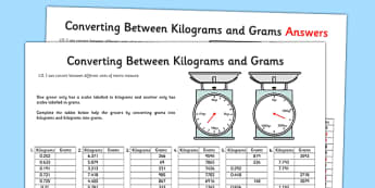 Converting Between Grams and Kilograms Activity Sheet - converting, grams, kilograms, activity, worksheet