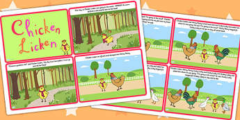 Chicken Licken Story Cards - chicken licken, stories, visual aid