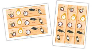 Time Display Borders - Time, Display border, border, display, Clock, O Clock, Quarter To Quarter Past, Hour, Minute, Half Past, Analogue, digital, hands, face