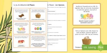 Easter Inference Reading Activity French  - KS3, French, Easter, Pâques,  reading, cards, skills, individual, group, pair, ,French