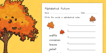 Autumn Alphabet Ordering Worksheet - season, weather, order, sort