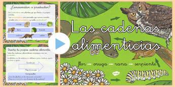 Presentación: Las cadenas alimenticias - comer, comida, animales,