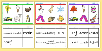 Seasonal Bingo and Sorting Activity - seasonal bingo, bingo, game, activity, sorting, sorting cards, seasons, autumn, winter, summer, spring, images, matching