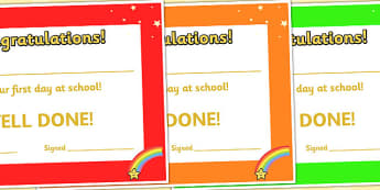 First Day at School Award Certificates - transition, rewards