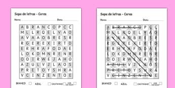 Sopa de letras - Cores Portuguese - portuguese, colours, word search, wordsearch