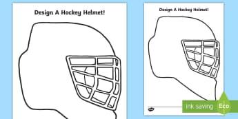 Design a Hockey Helmet Craft - Canada's 150th Birthday, canada, canadian, hockey, sport, helmet, drawing, colouring
