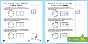 State of Origin Time to the Minute Problem Solving Activity Sheet - Australian Sporting Events Maths, mathematics, Year 3, measurement and geometry , using units of mea