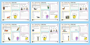 Year 1 Spring Term 2 SPaG Activity Mats - KS1, year 1, SPaG, spelling, punctuation, grammar, reading, writing, activity, mat, independent, pra