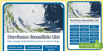 Hurricane Essentials Display Poster - Hurricanes, survival, hurricane survival, emergency, weather, extreme weather, poster, display