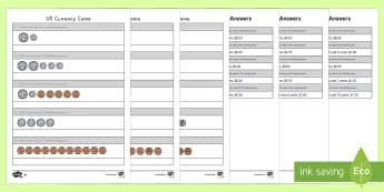 US Coins Differentiated Go Respond Activity Sheets - coins, currency, money, penny, nickel, dime, quarter