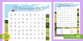 Sopa de letras: El transporte - transporte, coche, camión, avión, globo aerostático, autobús, moto, motocicleta, vía, carretera
