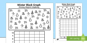 Winter Themed Colour, Count and Graph Activity Sheet Polish/English - Winter Themed Colour Count and Graph Worksheet - winter themed, winter, themed worksheets, winter th