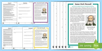 Scottish Scientist James Clerk Maxwell Differentiated Comprehension Go Respond  Activity Sheets-Scottish - CfE, Scotland, Scottish, Science Week, Scots, significant individuals, great, science,Scottish