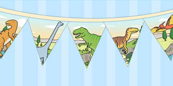 Dinosaur Themed Birthday Party Pictue Bunting - birthday, bunting