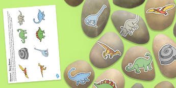Dinosaur Story Stone Image Cut Outs - dinosaur, story stone, image, cut outs