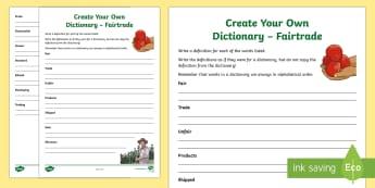 Fairtrade Create Your Own Dictionary-Scottish - CfE, calendar events, Scotland, Scottish, ethical trading, definitions, dictionary skills, alphabeti